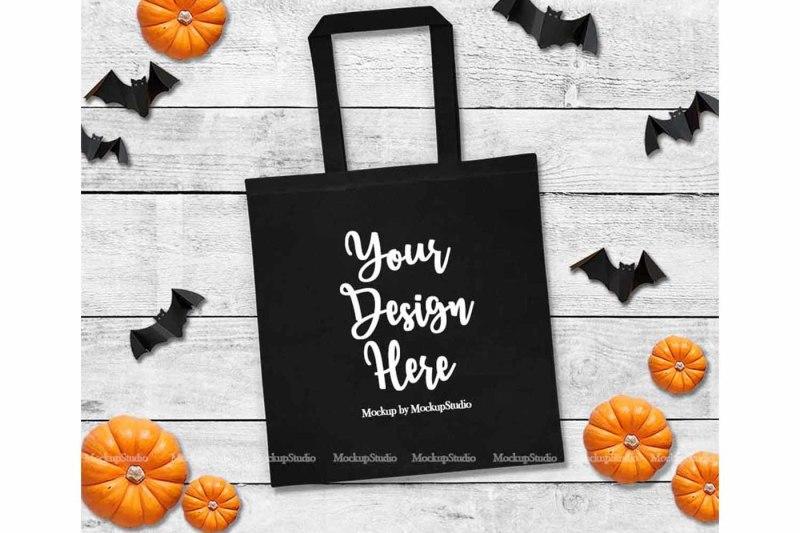 Free Halloween Tote Bag Mockup, Fall Black Canvas (PSD Mockups)