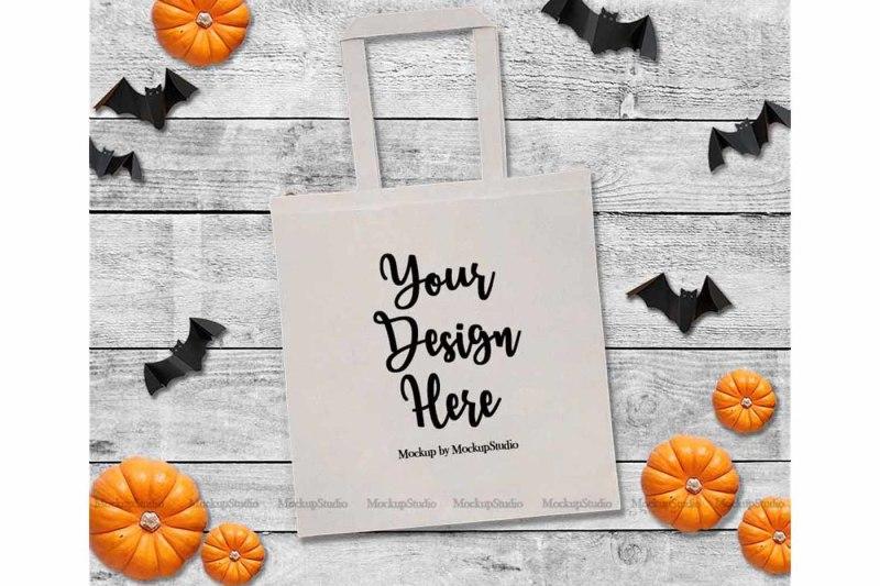 Free Halloween Tote Bag Mockup, Fall White Canvas Tote (PSD Mockups)