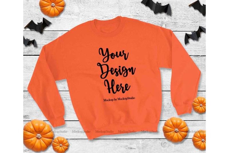 Free Halloween Orange Sweatshirt Mock Up, Fall Gildan Heavy Blend (PSD Mockups)