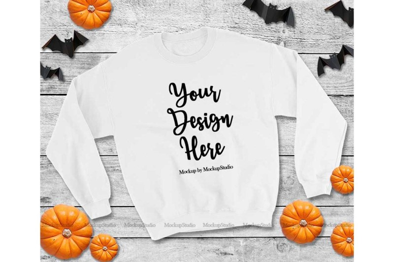 Free Halloween White Sweatshirt Mock Up (PSD Mockups)