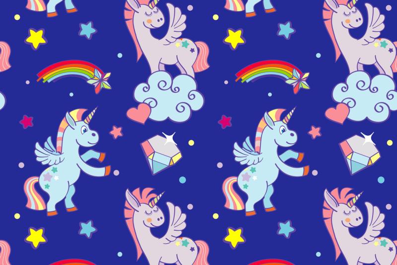 cute-unicorns-clouds-rainbow-magic-wand-vector-seamless-pattern