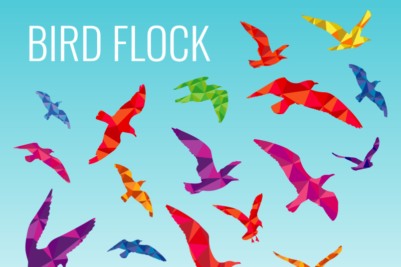 abstract-vector-background-with-color-silhouettes-of-flying-birds
