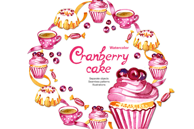 cranberry-cake-watercolor-set