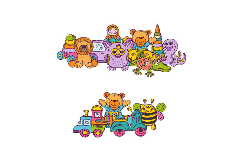vector-set-of-big-kid-toys-piles-hand-drawn