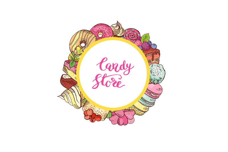 vector-hand-drawn-colored-sweets-around-circle-with-place-for-text