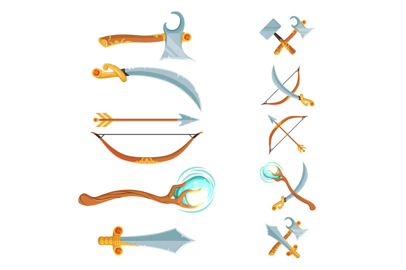 vector-set-of-fantasy-cartoon-game-design-crossed-and-in-the-row-sword