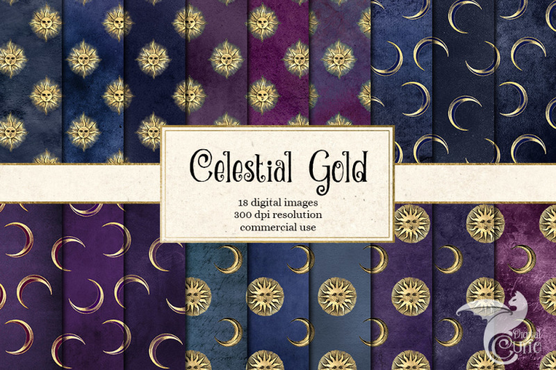 celestial-gold-digital-paper