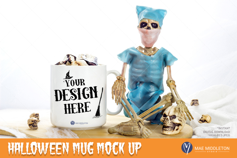 Free Halloween Mockup - White mug with Skeleton (PSD Mockups)