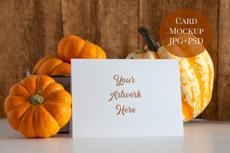 Free Card Mockup - pumpkins (PSD Mockups)