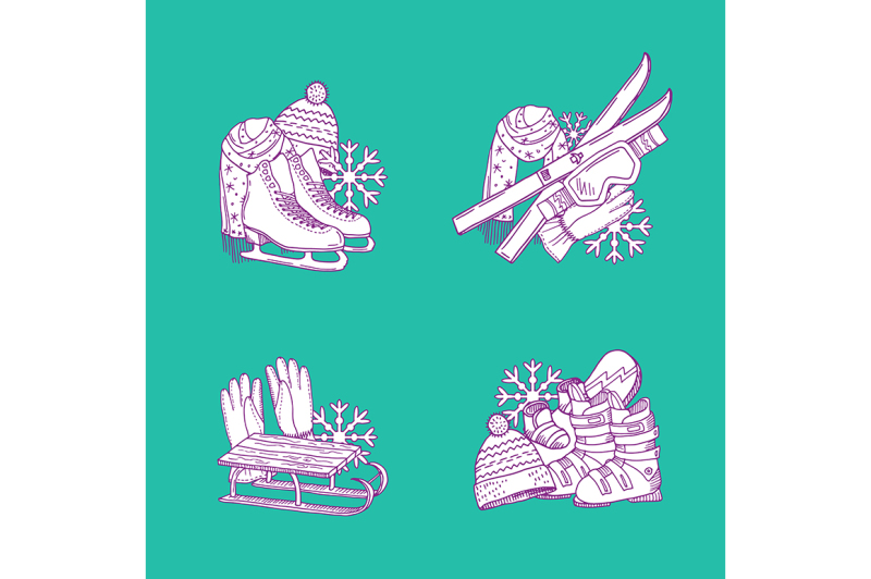 vector-hand-drawn-winter-sports-equipment-piles-set