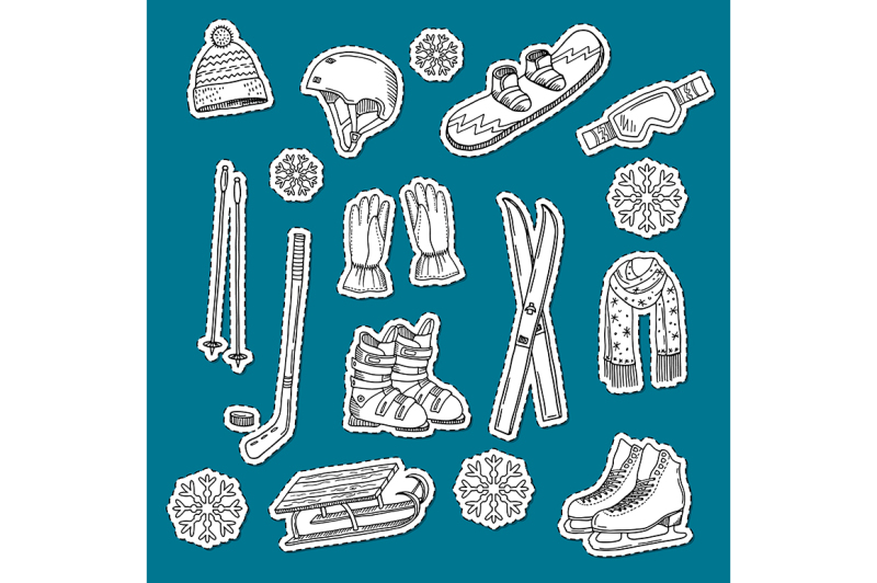 vector-hand-drawn-contoured-winter-sports-equipment-and-attributes