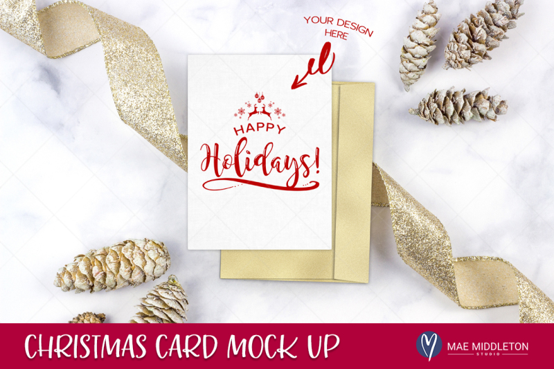Free Holiday / Christmas Card / stationery Mock Up (PSD Mockups)
