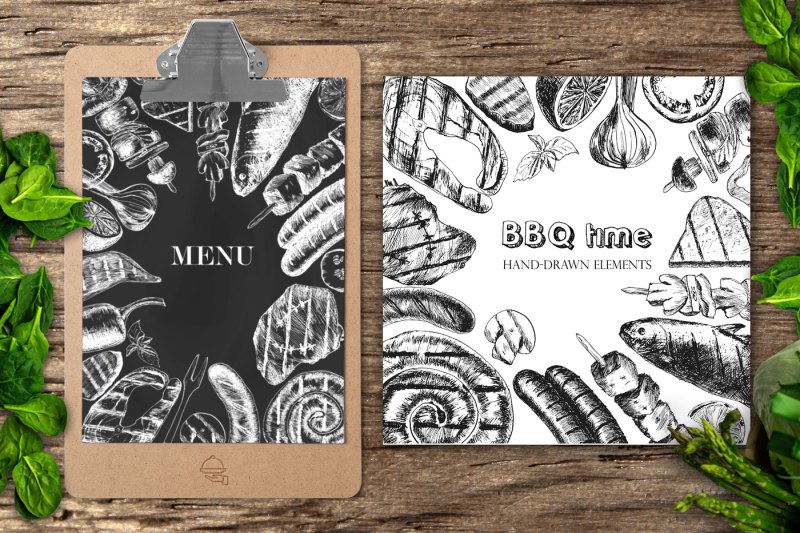 time-barbecue-graphic-set