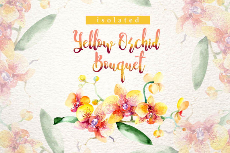 yellow-orchid-bouquet-png-watercolor-design-set