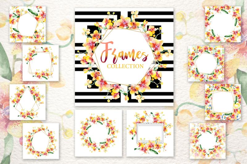 yellow-orchid-bouquet-png-watercolor-design-set