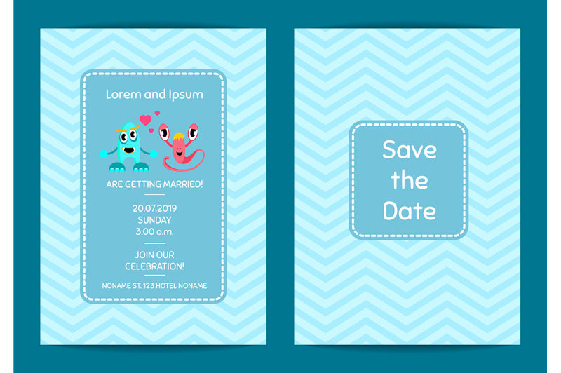 vector-save-the-date-wedding-invitation-template-with-cute-monster