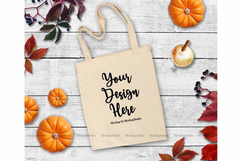Free Fall Tote Bag Mock Up, Autumn Thanksgiving White Blank Canvas Tote (PSD Mockups)