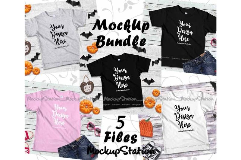 Free Fall Kids Tshirt Mockup Bundle 5 Colors, Children Shirt Mock Up (PSD Mockups)