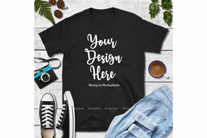 Free Fall Black Shirt Mock Up, Gildan 64000 Tshirt Mockup (PSD Mockups)