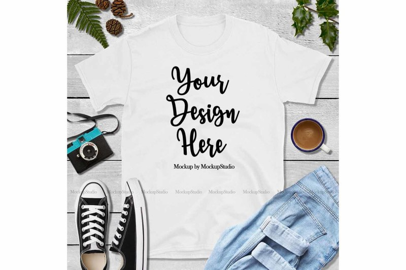 Free Fall White Shirt Mock Up, Gildan 64000 Tshirt Mockup (PSD Mockups)
