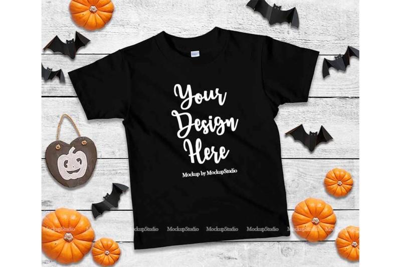 Free Halloween Kids Black Tshirt Mockup, Fall T-shirt Flat Lay (PSD Mockups)
