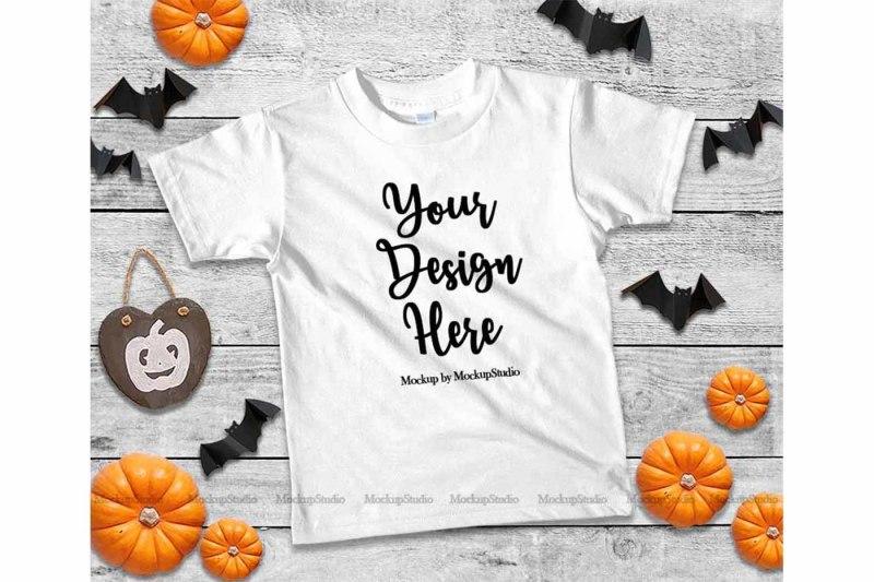 Free Halloween Kids WhiteTshirt Mockup, Fall T-shirt Flat Lay (PSD Mockups)