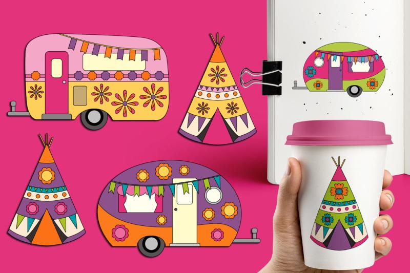happy-camper-clipart-camping-caravan-teepee-tent