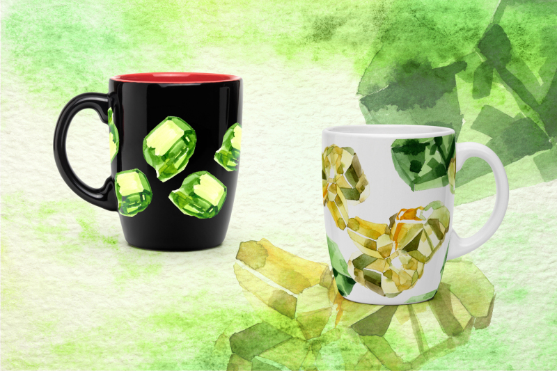 aquarelle-yellow-and-green-crystal-png-set