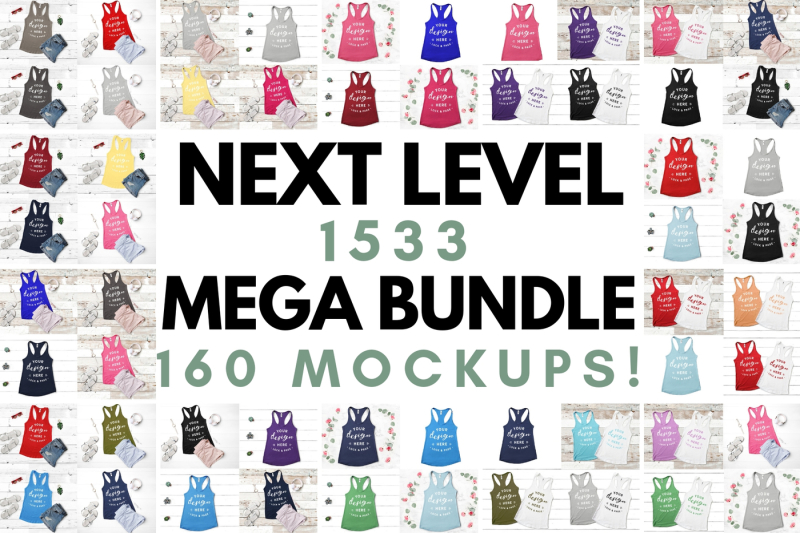 Free Next Level 1533 Mockup Mega Bundle Vest Tank Top Flat Lay Summer (PSD Mockups)