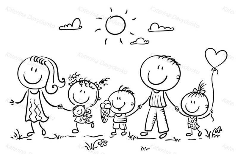 happy-family-with-three-children-walking-outdoors