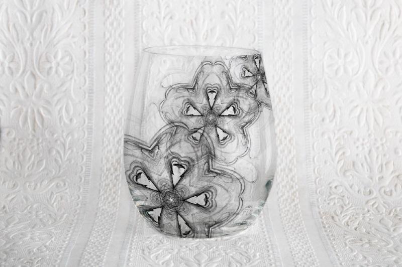 Free Stemless wine glass mockup no stem neutral mock up psd stock photo (PSD Mockups)