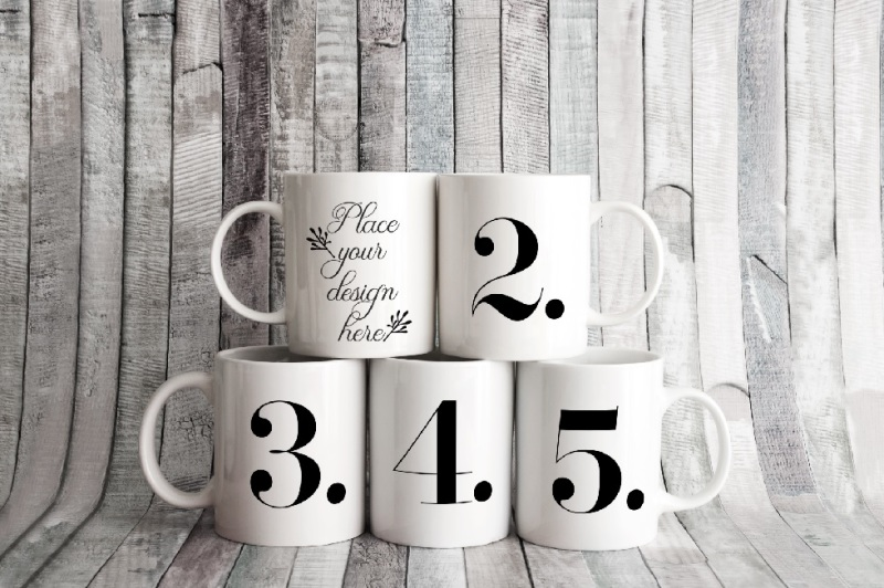 5-white-coffee-mug-mockups-five-cup-mockup-stock-photo