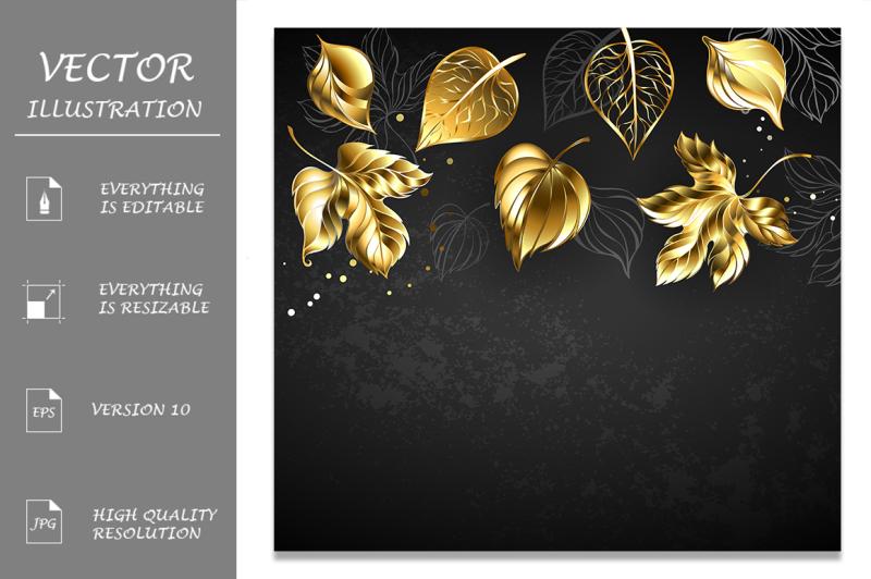 gold-leaves-on-black-background