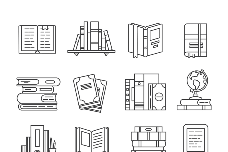 line-art-book-icons-literary-magazines-study-diary-and-bible-open-t