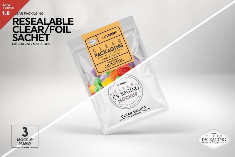 Free Clear Foil Sachet Packaging Mockup (PSD Mockups)