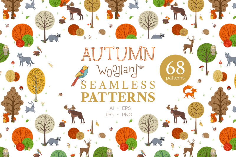 autumn-woodland-seamless-patterns