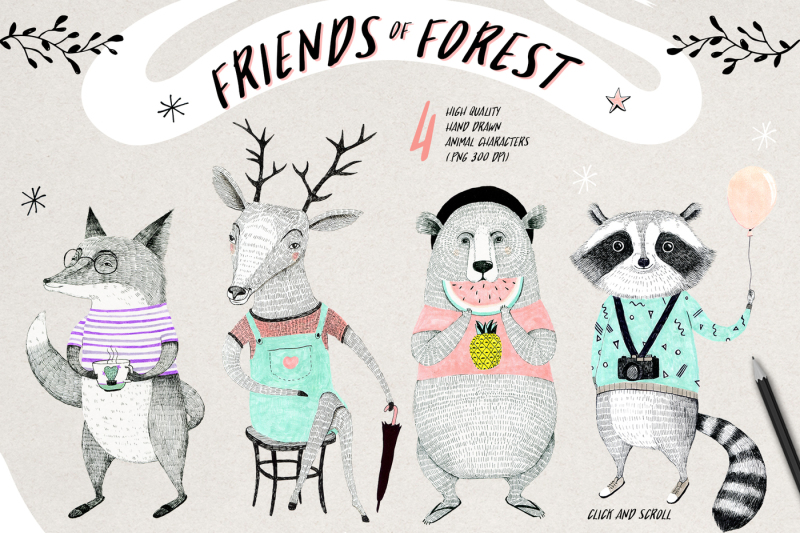 friends-of-forest-illustrations-set