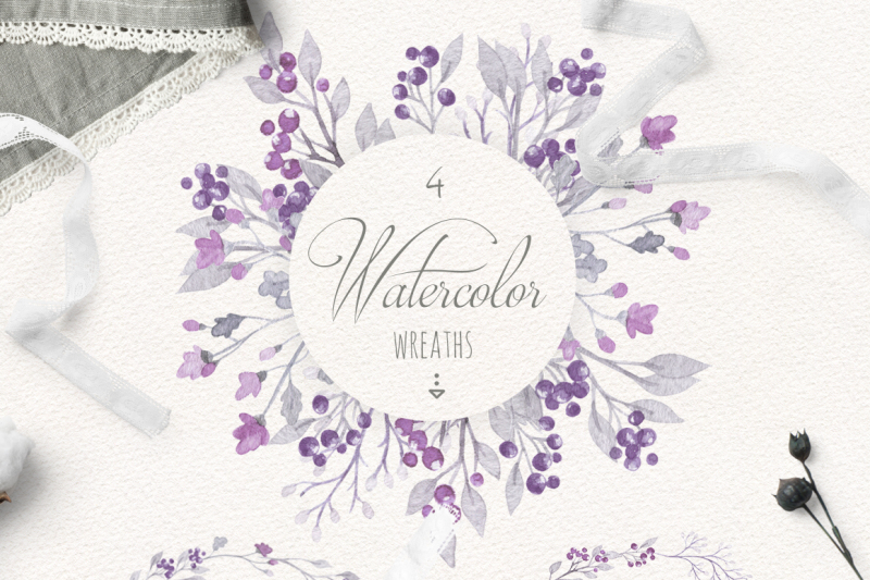 purple-watercolor-floral-set