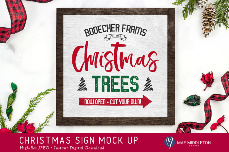 Free Christmas / Winter Wood Sign Mock up - 2 versions. High res JPEG (PSD Mockups)