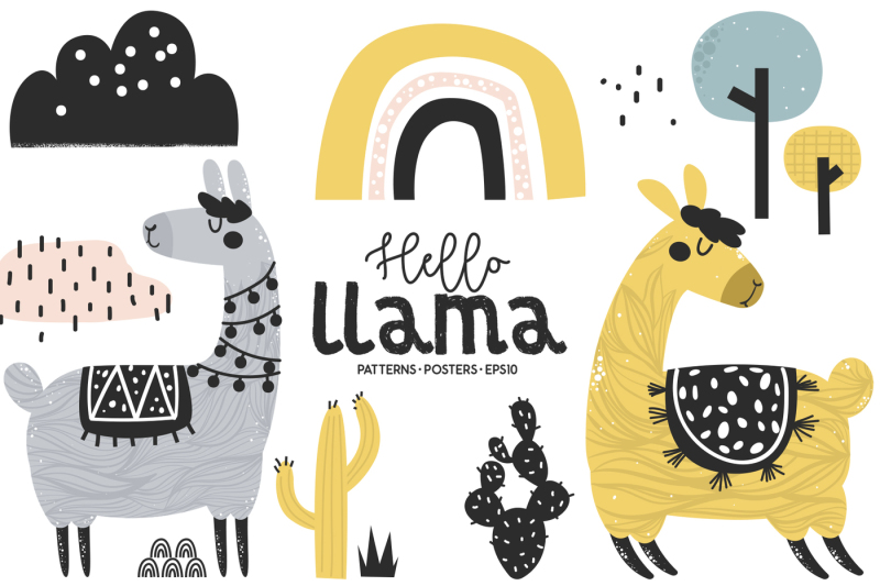 hello-llama-cute-characters