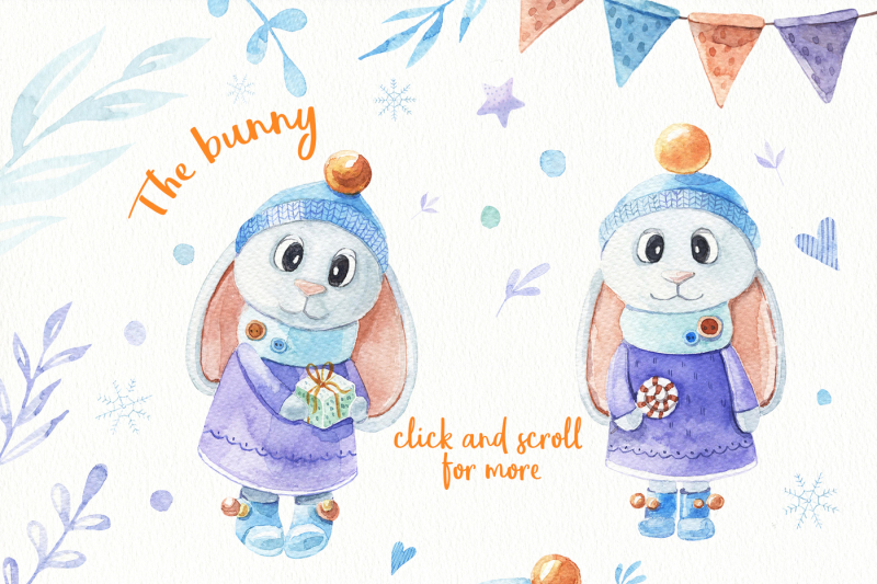 Christmas Bunny Watercolor Set By Alesya Pytskaya Illustrations