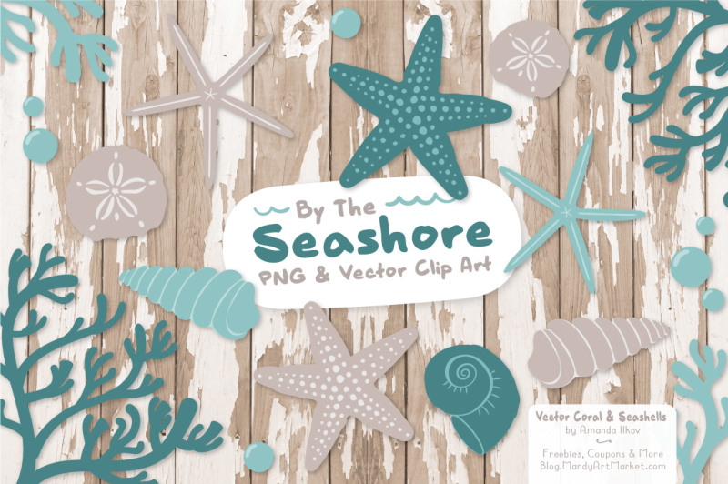 seashore-shells-and-coral-clipart-in-vintage-blue