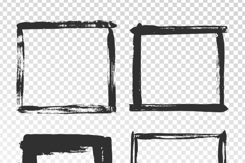 brush-strokes-frame-black-grunge-square-borders-paint-brushes-photo