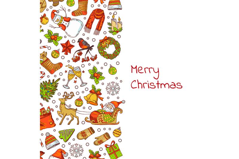 vector-hand-drawn-colored-christmas-elements-with-santa-xmas-tree