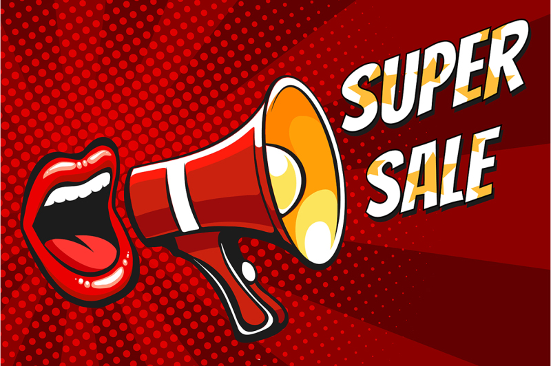 super-sale-banner-with-open-mouth-and-megaphone-in-pop-art-style