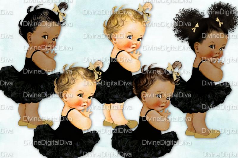 vintage-baby-girl-set-ballerina-black-and-gold