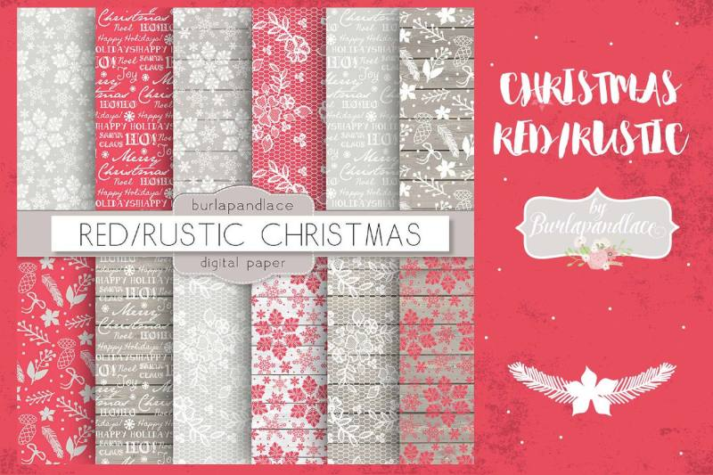 christmas-red-rustic-digital-paper-pack