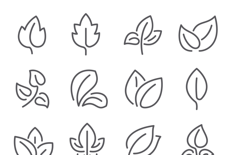 natural-leaf-line-icons-young-leaves-of-plants-forest-tree-leafs-and