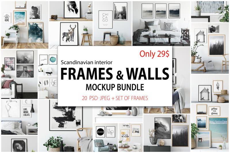 Free Scandinavian Interior Frames & Walls Mockup Bundle (PSD Mockups)