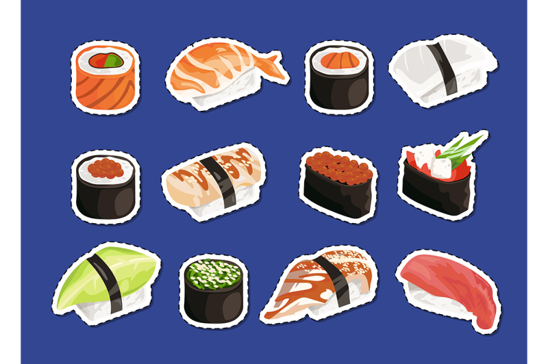 vector-cartoon-sushi-stickers-set-isolated